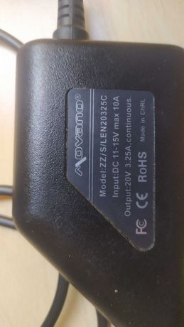 Zasilacz ładowarka samochodowa do laptopa Lenovo Movano 20V 3.25A