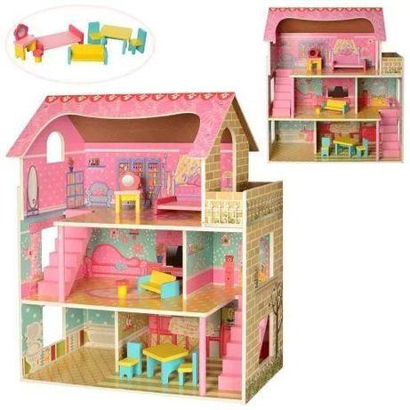 АКЦИЯ! Деревянный Домик Барби. 3 этажа Высокое Качество. 2203
