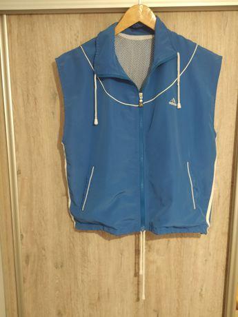 Bezrękawnik Adidas niebieski błękitny zamek kieszenie M/L 100% bawełna