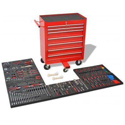 Carro de ferramentas oficina com 1125 ferramentas aço vermelho