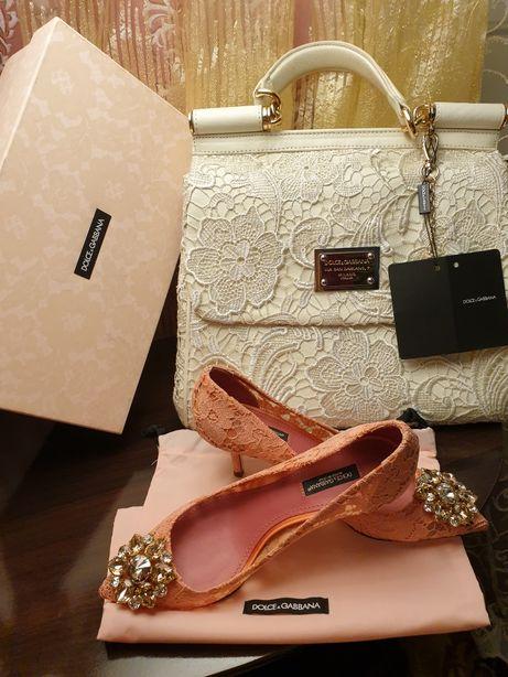 Кружевные туфельки DOLCE&GABBANA Оригинал Италия+подарок платье,сумка!