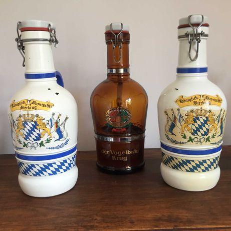 Butelka/butla , gąsior po piwie z kapslem , 2 litry , szkło