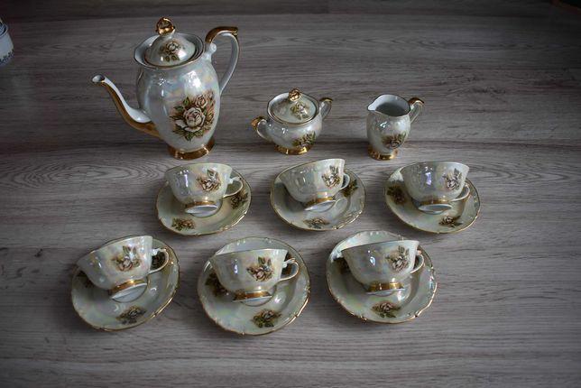 Serwis do kawy Porcelana Chodzież kamelia opalizujący prl kolekcja