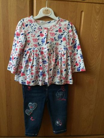 Komplet bluzka + spodnie jeans r. 68-74 NOWY