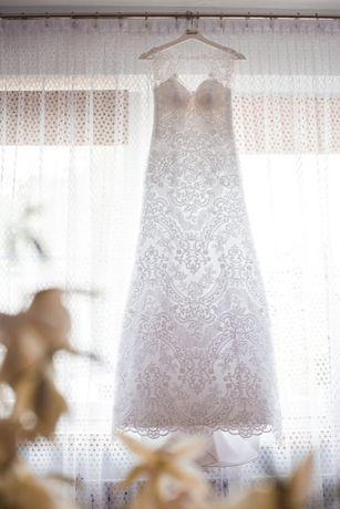 Suknia ślubna koronkowa Oryginalna syrenka z trenem