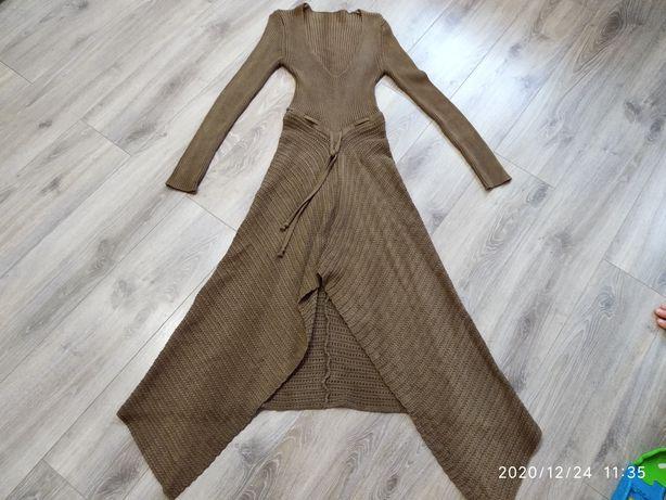 Вязаное нарядное, теплое платье на Новый Год или корпоратив.