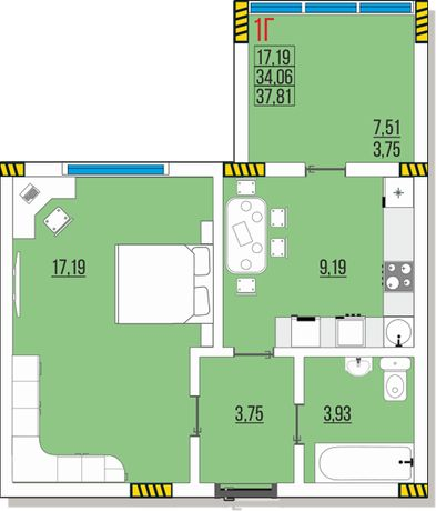 Ак. Глушко, Одесса, продам 1к квартиру 4 эт. 37,81 м. от застройщика.