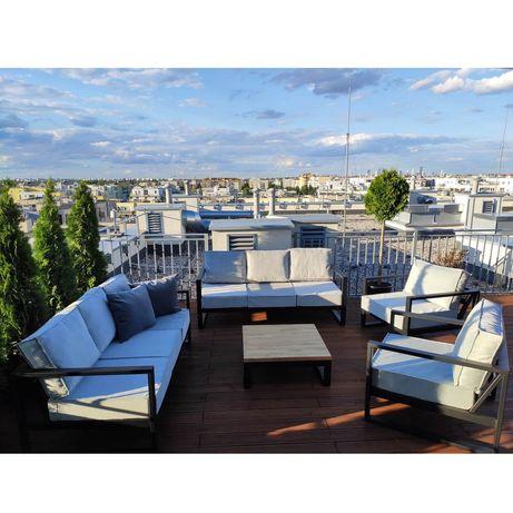 Wygodne meble ogrodowe Black Oak 2x kanapa + 2x fotel - wysoka jakość!