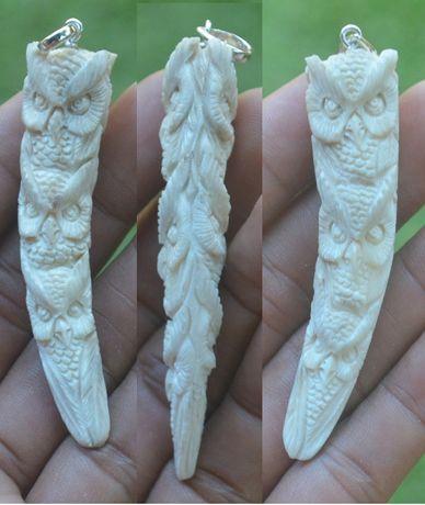 Wisiorek,zawieszka z kości poroża,sowy,Indonezja,Bali