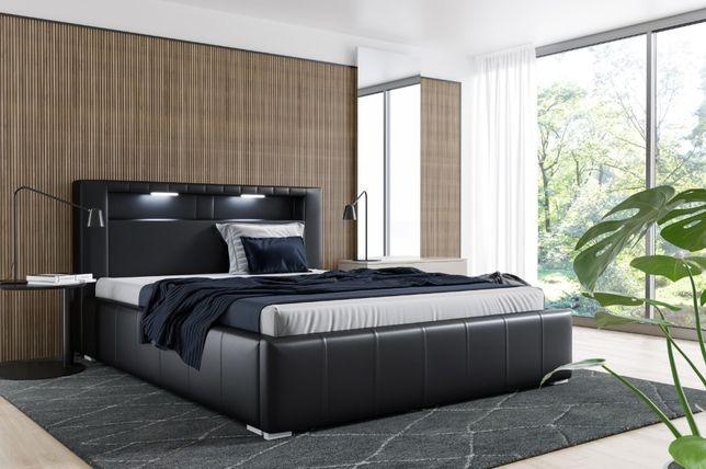 Łóżko tapicerowane Palermo LED + MATERAC stelaż pojemnik