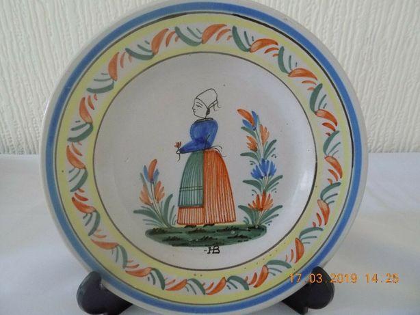 """Raro prato pintado à mão HB """"Hubaudiere Bousquet Quimper"""" c1880"""