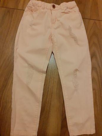 Spodnie jeansy pudrowy róż 116
