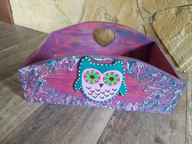 Pojemnuk drewniany sowa ręczniemalowany kolorowy tani dla dziecka