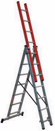 Escada tripla 3+3+3 mts alumínio c/ lance em fibra e degrau quadrado