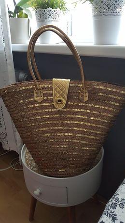 torebka kosz złoty beż