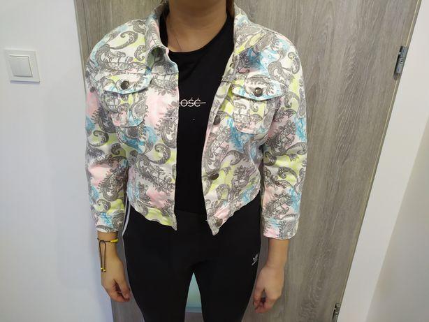 Kolorowa kurtka jeans Amisu 40