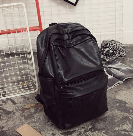 Мужской городской рюкзак молодежный эко кожа черный для ноутбука в зал