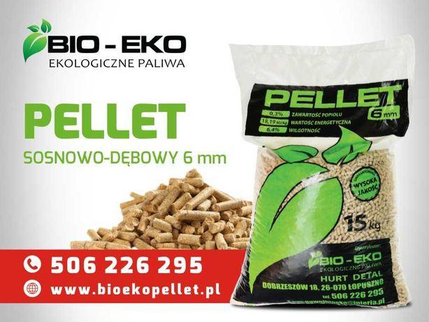 Pellet Pelet Hurt Detal SOSNOWO-DEBOWY 6m BioEko 15kg transport GRATIS
