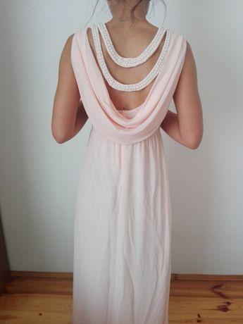 Długa sukienka , pudrowy róż, jak nowa.