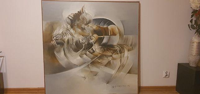 2 Obrazy oleje na płótnie- abstrakcja Alicja Chorociej