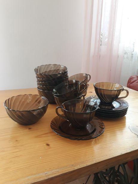 Komplet do kawy, miseczki, dymione szklo PRL