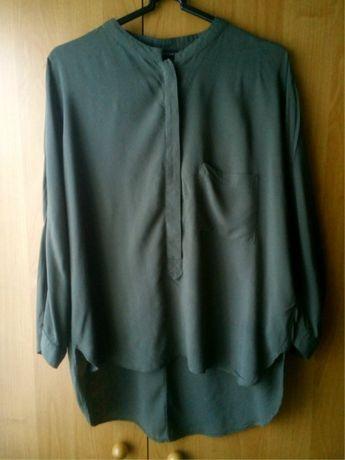 Женская блузка, рубашка, блуза хаки оверсайз ZARA, воротник-стойка, р.
