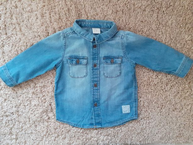 Chłopięca koszula z miękkiego denimu marki H&M. Rozmiar 74 (6-9 m-cy)