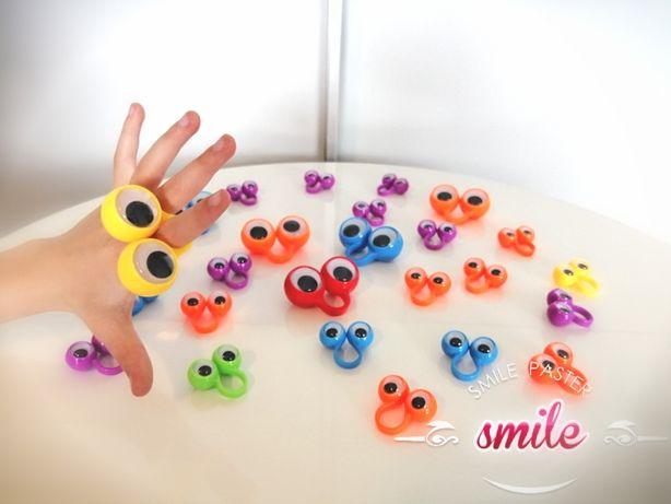 Pierścionek pierścionki plastikowe ruchome oczka dla dzieci 26szt duże