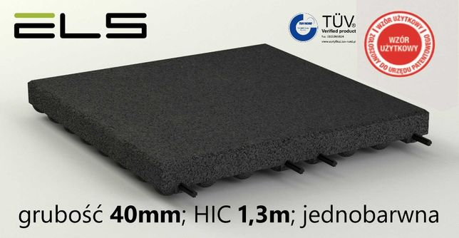 Płyty gumowe amortyzujące na plac zabaw 40mm - CZARNE - HIC 1,3 TÜV