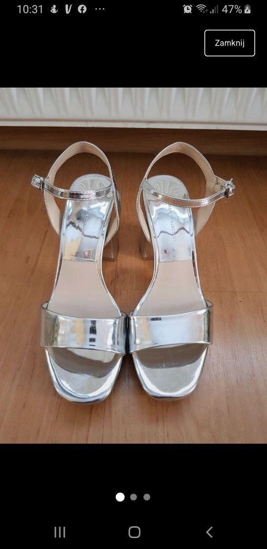 Srebrne sandały zara rozmiar 36