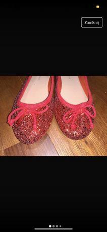 czerwone balerinki brokatowe 38