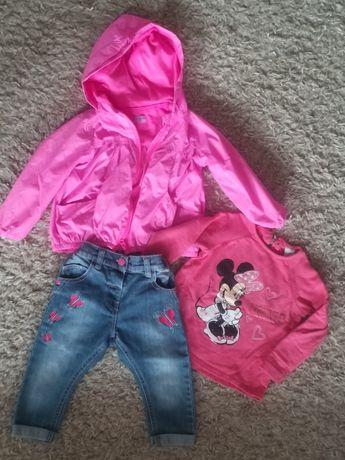 Zestaw jeansy, kurtka, bluza, czapka r.86 Myszka Minnie