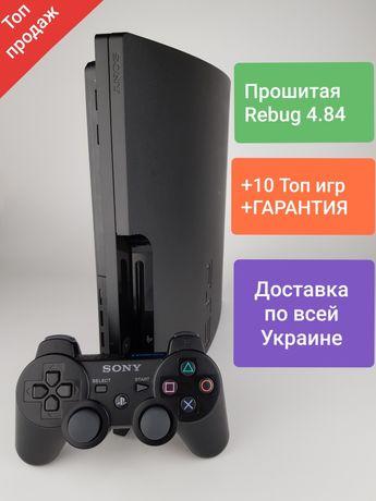 ХИТ!!!Прошитая PlayStation 3 Slim 250gb.+10 Топ игр(Gta5,Fifa19,UFC 3)