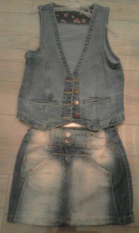 Uroczy jeansowy komplet kamizelka i spódniczka