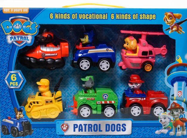 Figurki pojazdy AUTKA PSI PATROL zestaw 6 SZTUK