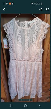 Sukienka różowa brokat koronka elegancka 40 L chrzest komunia wesele