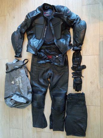 Kombinezon motocyklowy skórzany, rękawice, torba