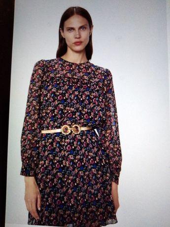 Sukienka w kwiaty mini NOWA xs ZARA łączka