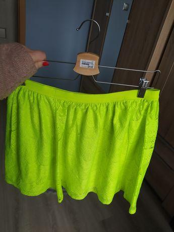 Zielono-Neonowa koronkowa spódniczka rozmiar L