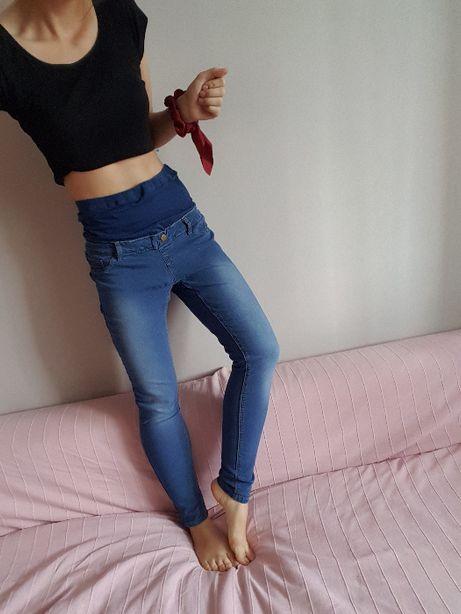 spodnie ciążowe jeans jeansy 38 M rozciągliwe pas na brzuch brzuszek