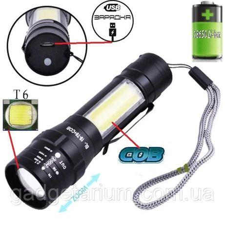 Светодиодный фонарик X-Balog BL T6 19 micro USB клипса фонарь ручной