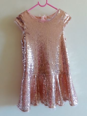 Sukienka CoolClub, złote cekiny, 122 cm