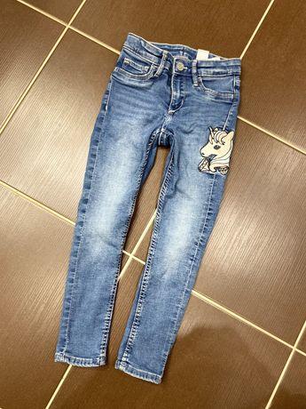 Spodnie jeansowe jeansy dziewczęce h&m zara 110 rurki dżinsy unicorn