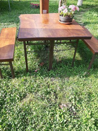 Stół , dwie ławki drewno , drewniany z drewna