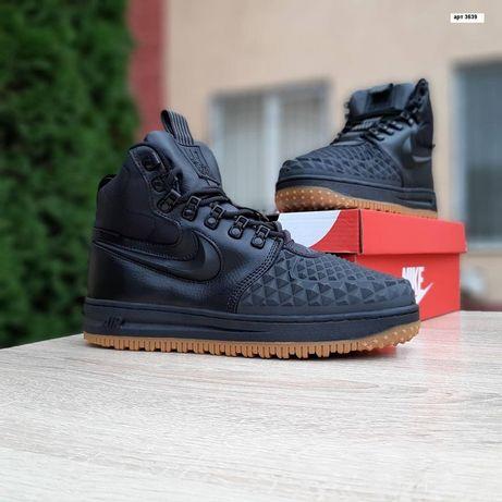 3639 Nike Lunar Force Чёрные кроссовки мужские зимние с мехом сапоги