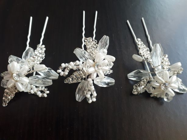 Szpilki spinki ozdoby do włosów kryształki ślub, komunia