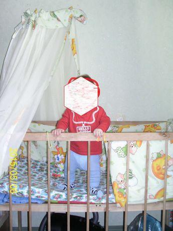 Детская кроватка с балдахином и матрсом