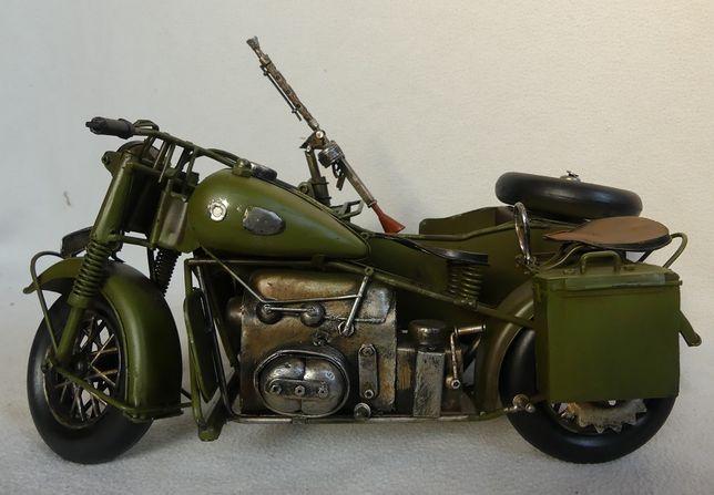 Wojskowy MOTOR z koszem pojazd RETRO ruchome koła
