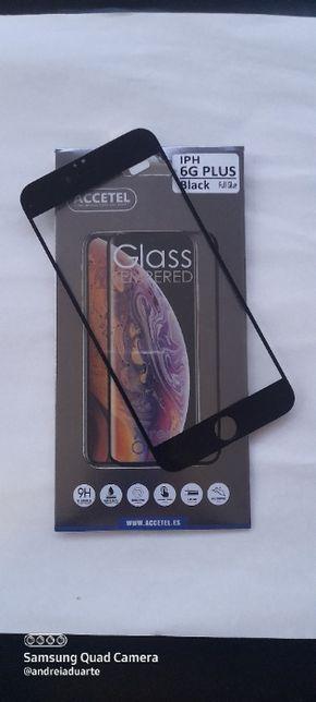 Película de Vidro Temperado Fullscreen Preta Iphone 6 PLUS
