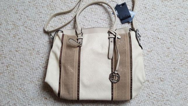 Nowa damska beżowa torebka z brązowymi wstawkami